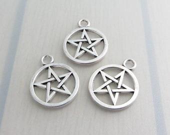 3 Silver Pentagram Charms, 21mm x 26mm Pentacle Charm, Jewelry Craft Supply, Bead Destash