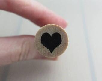 Love Heart Rubber Stamp, Wooden Valentines Stamp, Heart Ink Stamp, Craft Supply, Destash
