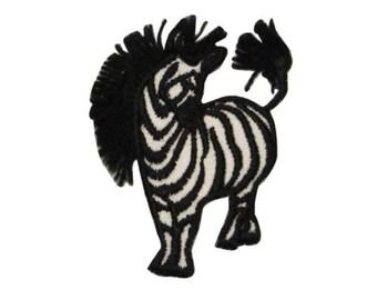 ID 0628B Small Wild Zebra Patch Long Mane Safari Embroidered Iron On Applique