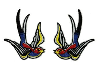Set of 2 Multi-Color Swallow Bird Patches Sparrow Embroidered Iron On Applique
