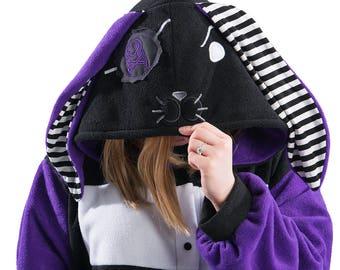 Pawstar Pirate Bunny Kigu Rabbit Kigurumi Red White Purple Black Adult Animal Pajamas Cat Onesie  Stiped Stripey Goth Gothic Emo 6330