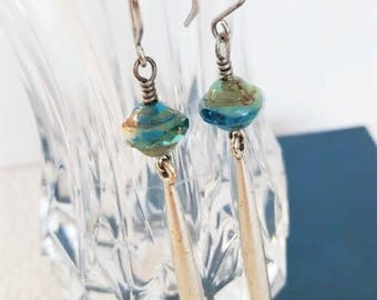 Modern Silver Bar Earrings with Turquoise Picasso Beads, Silver Drop Earrings Turquoise Capri Sea Glass Summer Jewelry veryDonna