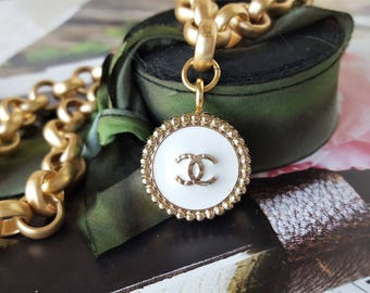 Iconic Designer Button Necklace Chunky, Satin Gold Choker chunky, Classic White Enamel and Gold insignia, Button Jewelry veryDonna