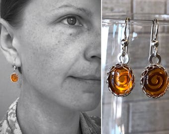 Amber Drop Earrings - Solid Sterling Silver and Genuine Amber - Spiral Design