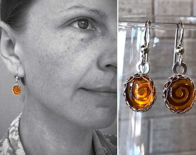 Featured listing image: Amber Drop Earrings - Solid Sterling Silver and Genuine Amber - Spiral Design