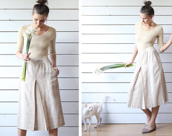 Finnish vintage beige blue striped linen viscose front back pleat over the knee pencil midi skirt S M