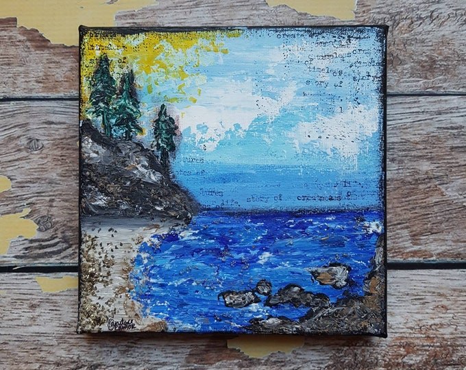 Seascape Canvas Art | Coastal Painting | Ocean Art | Beach Decor | 6x6 | Abstract Seascape No. 2 | Saltons Cove Studio
