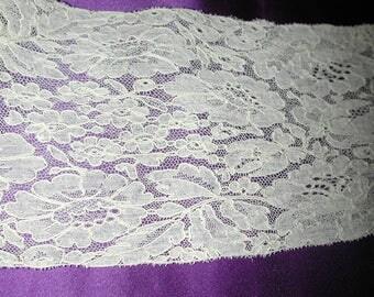 "No. 100 Antique French Silk Alencon Edging Lace; 4.5 yards and 25"" x 4"";  pristine"