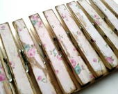 So Sweet Pink Shabby Chic Clothespins set of 10 Decoupage Clothespins