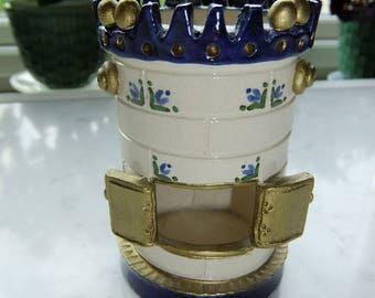 Vintage Swedish  hand made ceramic candle light in shape of a tiled stove