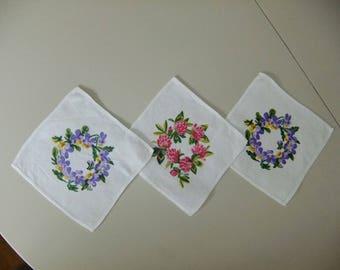 Vintage Swedish hand printed linen tablecloths - set of three - Gocken Jobs Leksand - flower wreaths