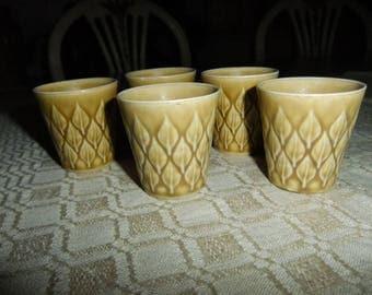 Vintage Relief five egg cups - Kronjyden Denmark - Jens Quistgaard design