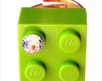 ON SALE Light Green LEGO (R) brick 2x2 with a Diamond color Swarovski crystal on a Silver/Gold plated adjustable ring finding