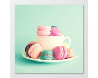 Wall art canvas, Macarons, french macaroons, mint wall art, canvas art, kitchen print, kitchen art canvas print large wall art macaroon mint