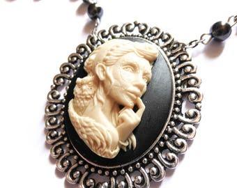 """Chaplet Rosary beads cameo woman Mexican Sugar Skulls calavera Bohemian gypsy """"Dia de los Muertos"""""""