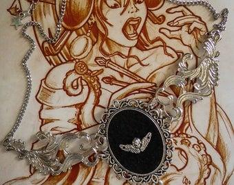 "Necklace cabochon silver felt Boho Chic steampunk ""Angel Wings"""