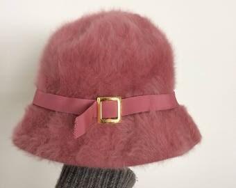 Vintage Kangol Angora mauve hat bucket hat