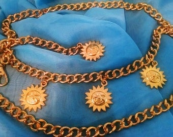 Belt Vintage Chain Sun Disks Gold Plated Brass Exotic, Tribal, Boho Chic, Runway Ready