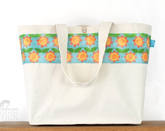 Floral Large Tote Bag, Canvas Tote, Reusable Shopper Bag, Cotton Tote, Shopping Bag, Eco Tote Bag, Reusable Grocery Bag