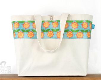 Floral Large Tote Bag, Canvas Tote, Reusable Shopper Bag, Cotton Tote, Shopping Bag, Eco Tote Bag, Reusable Grocery Bag