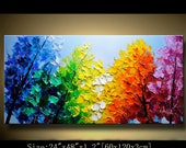 Abstract Wall Painting,Palette Knife Abstract Painting, Textured Painting,,Landscape Painting ,Park Lights Painting  on Canvas, by Chen 0620