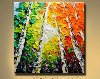 Original Abstract Painting Modern Thick Textured Painting Impasto Landscape Textured Modern Palette Knife Painting, on Canvas by Chen 0627