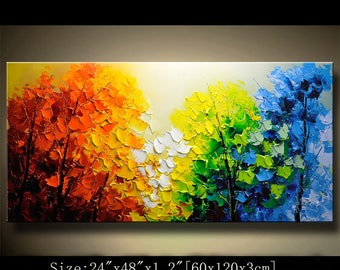 contemporary wall art,Palette Knife Painting,colorful  tree painting,wall decor  Home Decor,Acrylic Textured Painting ON Canvas by Chen