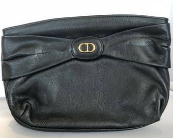 Christian Dior black clutch  bag made in Spain authentic vintage very rare beautiful