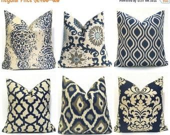 15% Off Sale EURO PILLOW  Navy Euro Pillow cover - Euro Sham - Euro Pillows - Tan Blue Pillow - Navy Pillows - Suzani pillow - Blue pillow c
