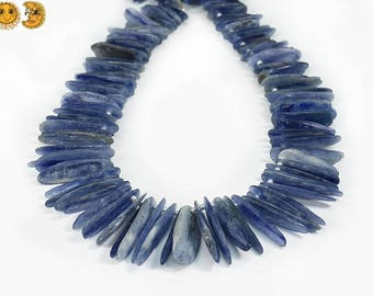 15 inches of natural Kyanite smooth graduated stick gemstone bead,spike beads,point bead, slice nugget beads,top drilled bead,7x8-8x40mm