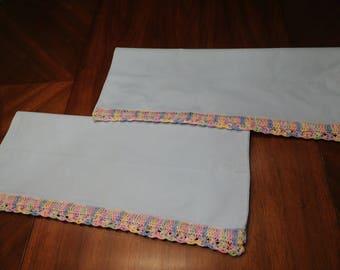 Vintage Blue Cotton PILLOWCASE Pair with Multi-Color Crochet Edge