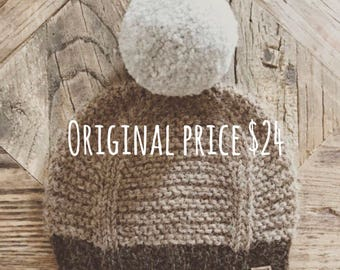25% OFF///Pompom Beanie in Grizzly, Camel & Dove Peruvian Highland Wool (Newborn)