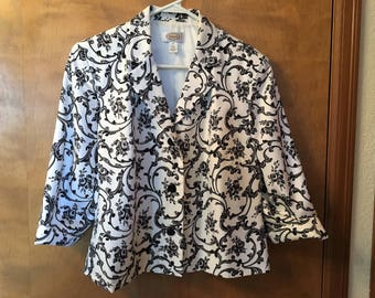 Black and white Talbot silk jacket.