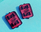 Rad and Fat stud earrings Red color