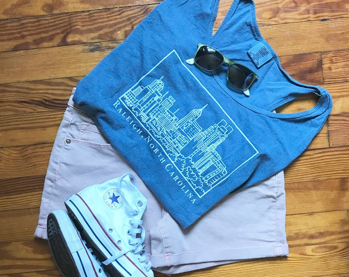 Raleigh North Carolina Skyline, Elle Karel Illustration Print on Comfort Colors Racerback Tank, 100% Cotton