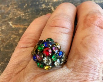 Czech Multi Color Reign Bridal Ring Vintage 1930 1940 Art Deco Nouveau Renaissance Wedding Woodland Goddess