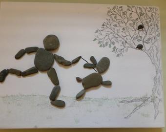 Pebble art, Dog walk