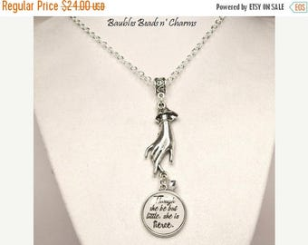Sale Literary Quote Necklace, Charm Necklace, Victorian Hand Necklace, Shakespeare Quote Necklace, Though she be but little, Literary Jewelr