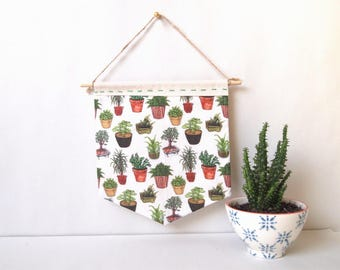 potted plants handmade patterned wall hanging | fabric banners, home decor