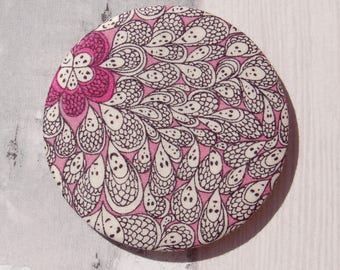 Pocket Mirror Liberty Fabric Covered Cranford Pink