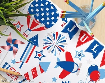 4th of July,  Independence Day Clipart, Star Spangled, Hot air balloon, Airplane, flag, fireworks, commercial use, vector clipart, SVG cut