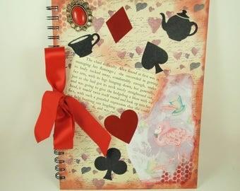Scrapbook Album, 8x11 inches, Alice in Wonderland, Art Journal, Memory Book, Mixed Media Art, Scrapbooking, Adventures of Alice, Flamingo