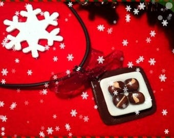 Chocolate Christmas ref 114 plate pendant necklace