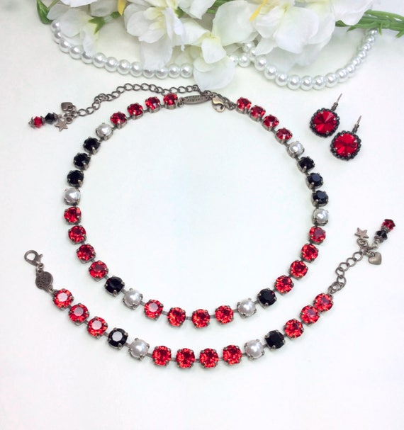 "Swarovski Crystal 8.5mm Necklace - ""Royal Red"" - Rich Red, Jet, & Creamy White Pearls - Designer Inspired -  Sophistication+ - FREE SHIPPING"