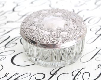 POWDER BOX, Vintage Pressed Glass with Horizontal Ribbed Design, Embossed Silverplated Top by Centurion Collection, Art Nouveau Inspired