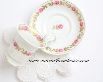 DEMITASSE CUP, Vintage Demitasse Cup and Saucer, by ANC Fabrique Royale, Limoges, France in the Palais Royal Pattern, Replacement China