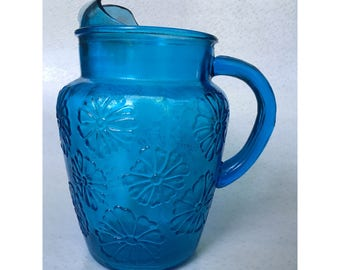 Clear Blue Anchor Hocking Daisy Glass Pitcher with ice lip (MOD)