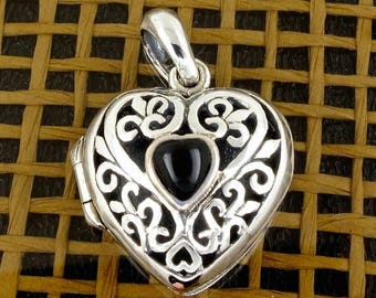 ON SALE Sterling Silver Heart Locket - Pendant