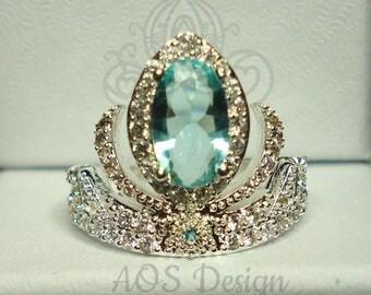 Elsa Silver Frozen Tiara Princess Ring Anna Frozen Crown Aquamarine Stone Ring