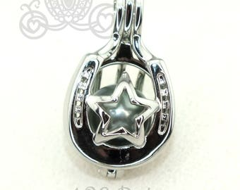 Horseshoe Star Pearl Cage Necklace Lucky Horse Shoe Western Silver Plated Locket Charm